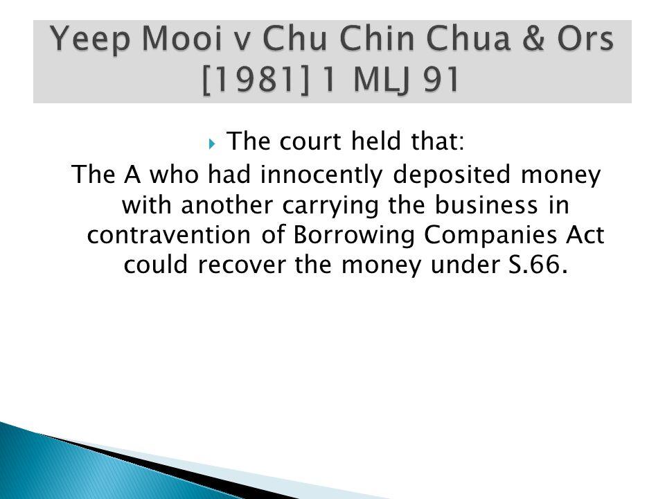 Yeep Mooi v Chu Chin Chua & Ors [1981] 1 MLJ 91